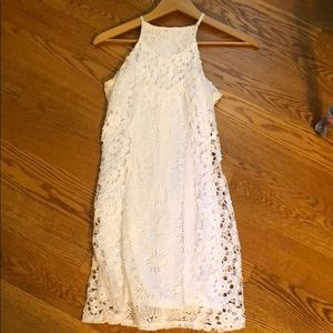 Fitted white lace dress